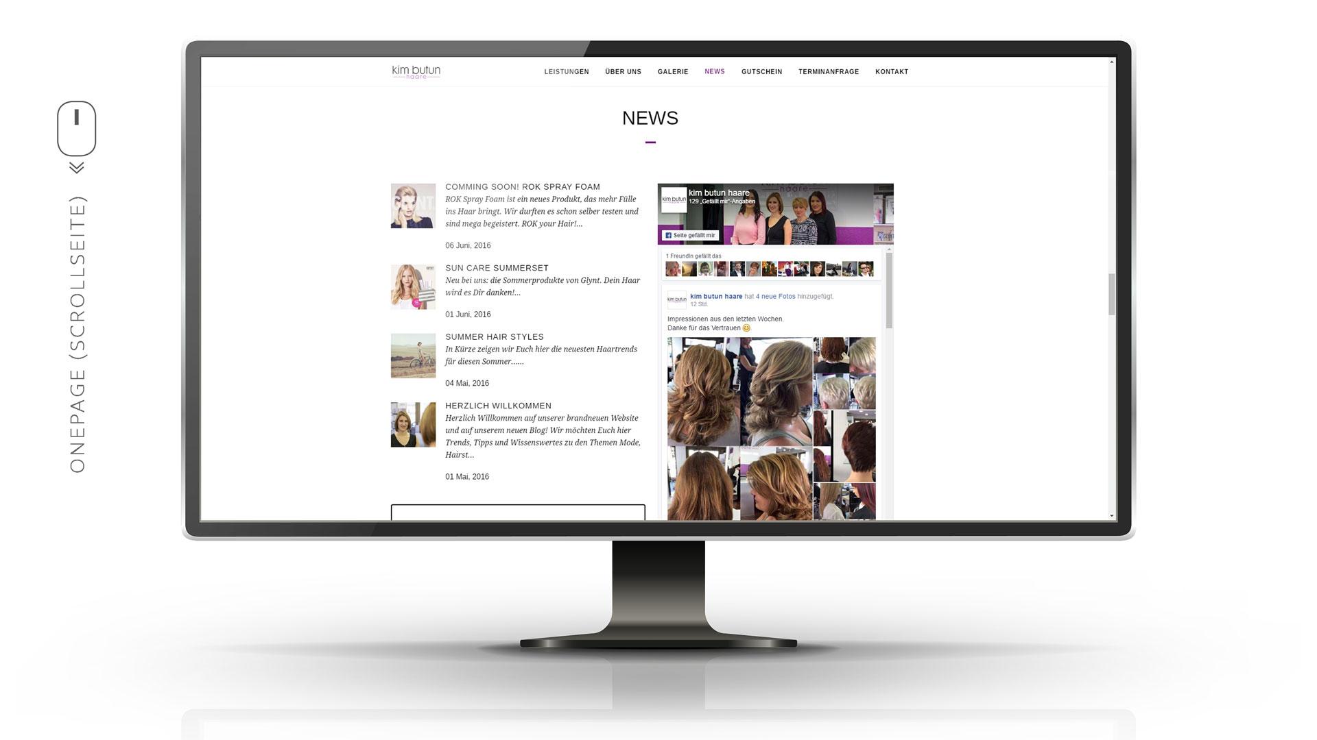 News Section mit zwei Spalten, Blog Auszüge und Facebook Page Plugin