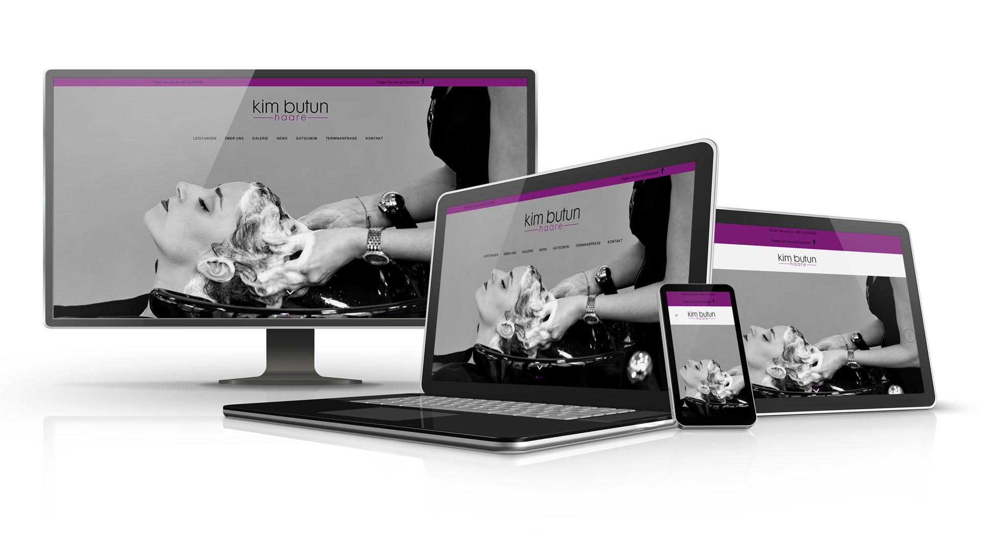 Startseite der Kim Butun Haare Website auf Desktop und Mobilgeräten